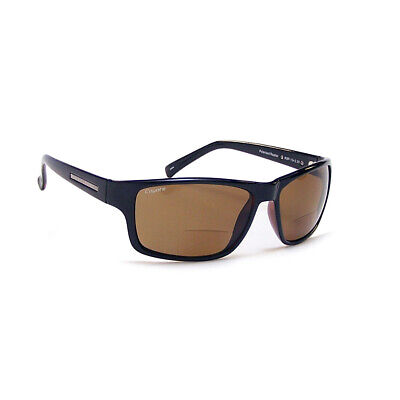 Coyote Eyewear BP-13 +2.00 Polarized Reader Premium Sunglasses, Black & Brown
