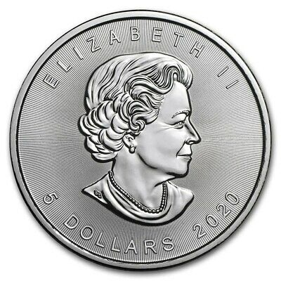 2020 Fine Canada 1 oz Silver Maple Leaf Solid silveer BU $5 coin
