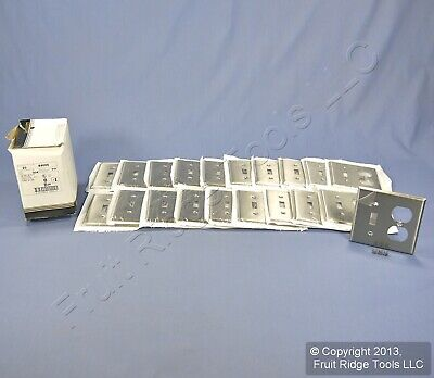 20 Leviton 2Gang Switch Receptacle Outlet Cover Stainless Steel Wallplates 84005