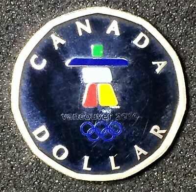 Canada 2010 Sterling Silver Painted Proof Lucky Loonie Coin only.$50. J58