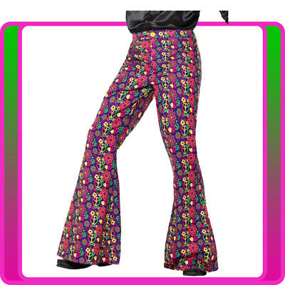 Mens 60s Costume Psychedelic Cnd Flared Trousers Hippy Hippie 70s 1960s Pants