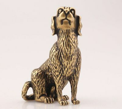 China Old Brass Hand Carving Long Ear Dog Animal Statue Figurine Collec Gift