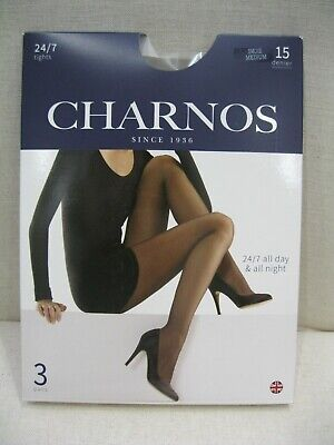 "Charnos 24/7 Tights - 3-Pair Pack - Colour ""Smoke"" 15 Denier - Size Medium - New"