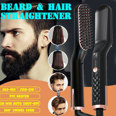AU Men Beard Quick Hair Straightener Comb Curling Heating Styling Show Cap Tool