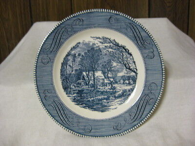 8 USA Currier & Ives Royal Ironstone Dinner Plates Old Grist Mill Blue & White