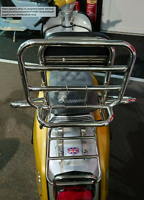 Scomadi or Royal Alloy Rear Carrier and Back rest 125 200 300 50