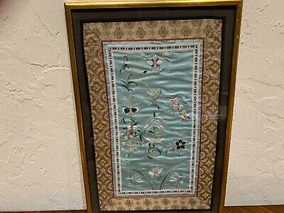 """Antique Qing Chinese silk embroidery textile 22.5x15"""" FINE QUALITY"""
