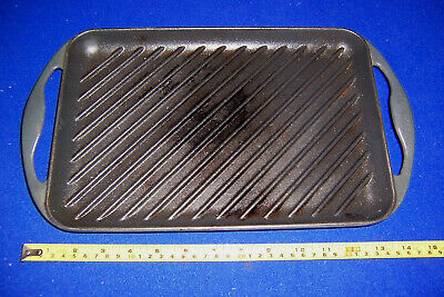 Vintage Le Creuset cast iron rectangular grill pan griddle skillet pan 33cm no2
