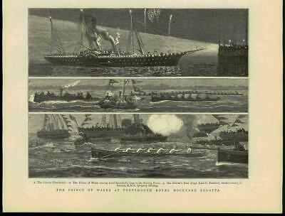 1881 - Antique Print HAMPSHIRE Portsmouth Royal Dockyard Regatta Wales  (78B)