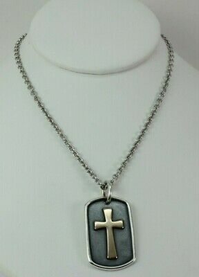 Rare Retired James Avery Sterling Silver 14K Gold Cross Dog Tag Free Shipping!