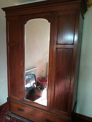 Large Edwardian Mahogany Wardrobe With Front Door Mirror. Beautiful Classy Piece