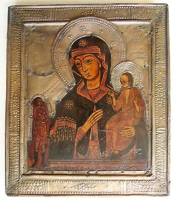 "Antique Russian icon of the Virgin ""Unexpected joy"". 19th century. 31х26х2 cm."
