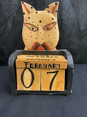 Cat 6 Piece Wood Wooden Calendar-Any Year