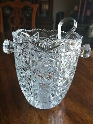 Beautiful Vintage ABP Cut Glass Crystal Ice Bucket with Tongs