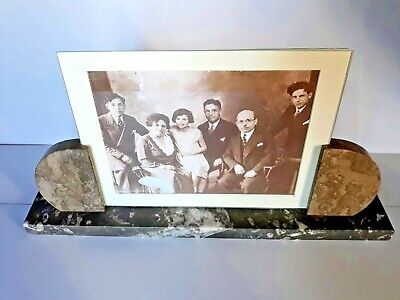 Large ART DECO  marble photo frame with glasses and passe-partout