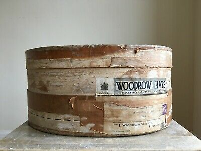 Vintage J.WOODROW & SONS LTD Gentlemen's Hat Box Barn Salvage Waxed c1950s