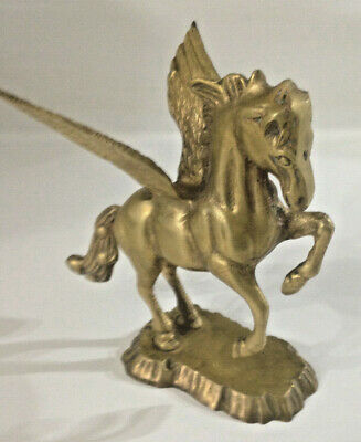 Vintage Solid Brass Figurine Winged Horse Pegasus Paperweight