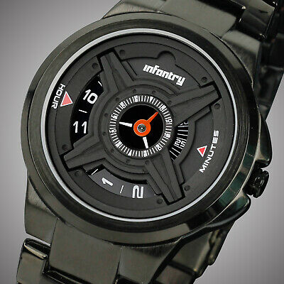 INFANTRY Mens Analog Wrist Watch Military Army Sports Black Stainless Steel US