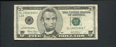 2003 Five Dollar $5 United States America Federal Reserve Bank Banknote  J-559