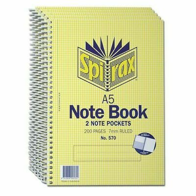 Spirax No. 570 A5 5 Subject Sprial Notebook 8 Lecture Note Book 200 pages