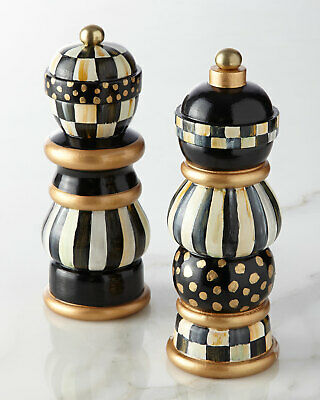 "Mackenzie Childs COURTLY CHECK Wood 7"" SALT & PEPPER MILL SET ~ NEW ~ RETIRED"