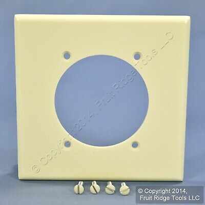 "Leviton Almond 2.465"" Power Outlet Cover 2-Gang Receptacle Wall Plate 80530-A"