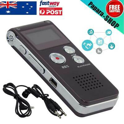 8GB Digital Sound Voice Recorder Dictaphone MP3 Player  USB Rechargeable AU