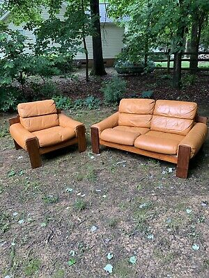 Uuvee Kaluste Oy Love Seat And Chair, Rose Wood And Leather