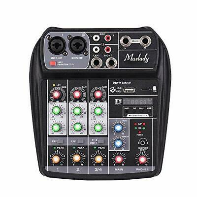 Muslady Ai 4 Channels Audio Mixer Compact Sound Card Mixing Console Bt Mp3 Usb