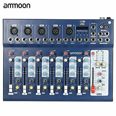 Ammoon F7 Usb Mixer Mixing Console 7 Channels 3 Bands Equalizer 48V Phantom