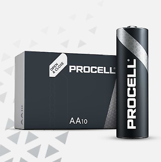10 x Duracell AA Industrial Alkaline Batteries 1.5V LR6 MN1500 Genuine Procell