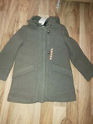 BNWT girl 10y ZARA Duffle khaki WOOL coat w faux shearling interior dark HOODED