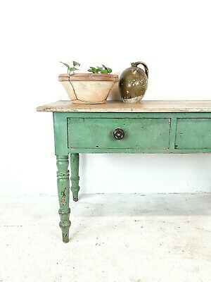 2 plank top Pine Farmhouse Kitchen Prep Table With Original Crackle Paint...