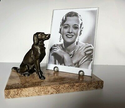 Stylish ART DECO  marble/glass photo frame with Setter dog in spelter