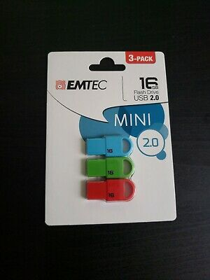 Emtec Slide 3-Pack Flash Drive USB 2.0 16 GB Blue Green Red NEW!!
