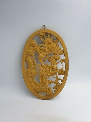 Chinese Hand Carved Wooden Dragon Pearl of Wisdom Wall Hanging Art Plaque Oval