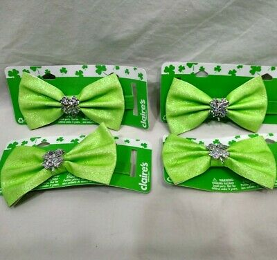 St Patricks Day Neck Bow Tie Ladies Green Elastic Band Glitter Sparkle Accessory