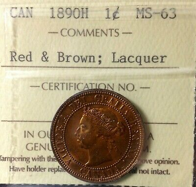 Canada 1890H Large Cent Graded ICCS MS63 R&B Lacquer.$400, J84