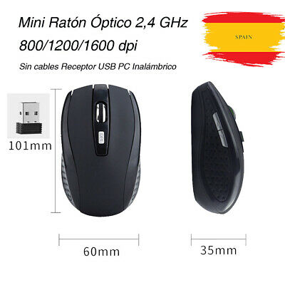 Mini Ratón Óptico 2,4 GHz 1600 DPI Mouse Sin cables Receptor USB PC Inalámbrico