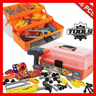 46 PC Deluxe Kids Handyman Pretend Play Toy Tool Box W Realistic Power Tools