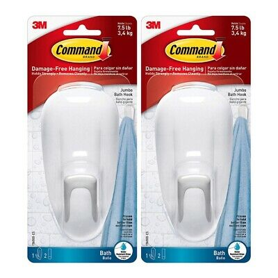 Command Large Bathroom Hook with Water-Resistant Strips Adhesive 17600B, 2-Pack