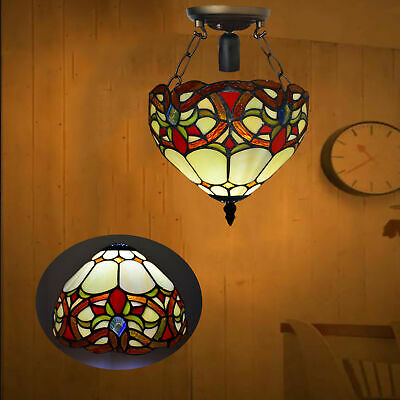 Tiffany Ceiling Lamp Hand Crafted Antique Design Beautiful  Stained Glass Shade