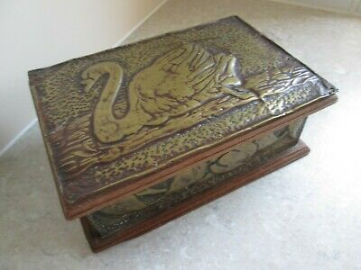 Arts & Crafts  Wood Box - Hammered Brass Panels  C.1890