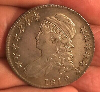 1819/8  Large 9 CAPPED BUST half dollar o-102 , XF