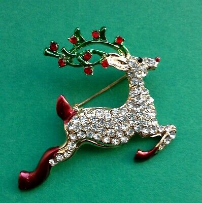 Cute gold tone enamelled Rudolph reindeer Xmas charms with red nose x5