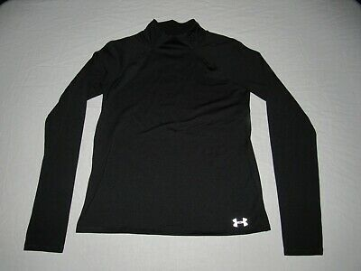 Under Armour Girl's Black Cold Gear Athletic Fitted Mock Shirt Size Xl