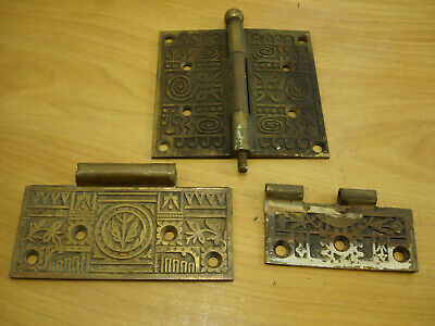 Antique Brass Hinge Plates for Parts Ornate for Crafts or Parts Restoration