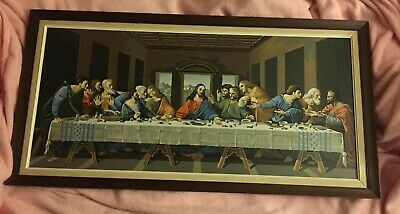 "1960s THE LAST SUPPER Paint-By-Number 35"" FRAMED PAINTING Passover/Easter Jesus"
