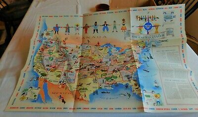 1958 Vintage Illustrative Pictorial Us Map By Mary Ronin Brussels Worlds Fair