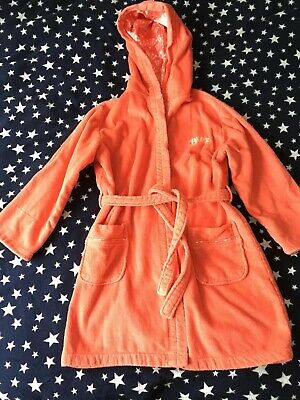 Debenhams Ted Baker Girls Coral Pink Towelling Gown Robe Cotton 7-8 Y